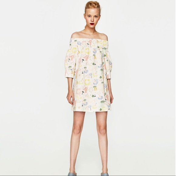 32f0a003e43bc NWT-Zara off shoulder printed pastel colored dress NWT